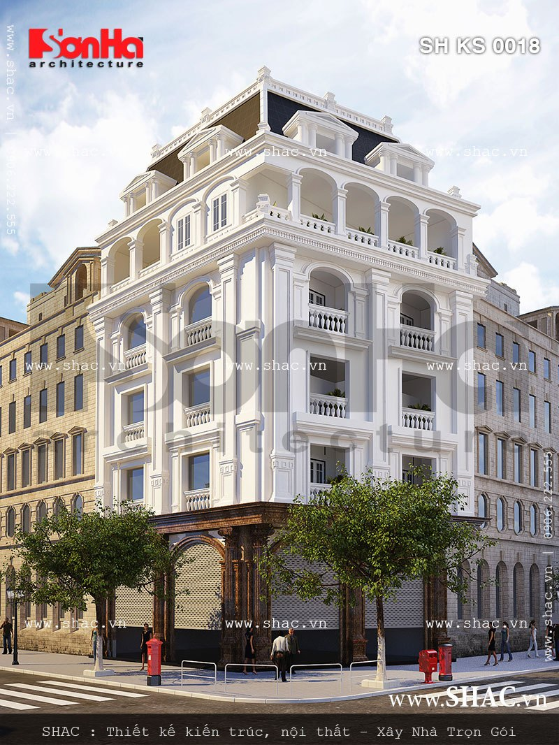 Khách sạn mini 5 tầng kiến trúc Pháp tại Quảng Ninh được đánh giá cao bởi đường nét tinh tế