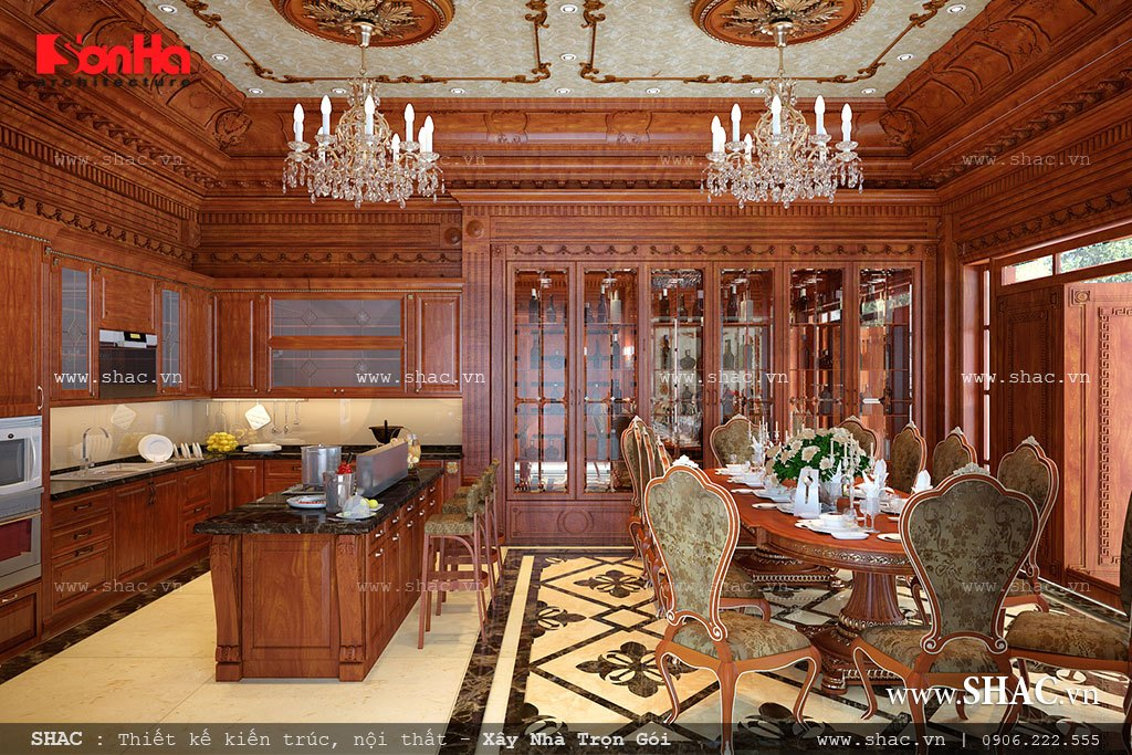 thiết kế phòng bếp cổ điển với chất liệu gỗ; noi that phong bep va an co dien cho biet thu lau dai