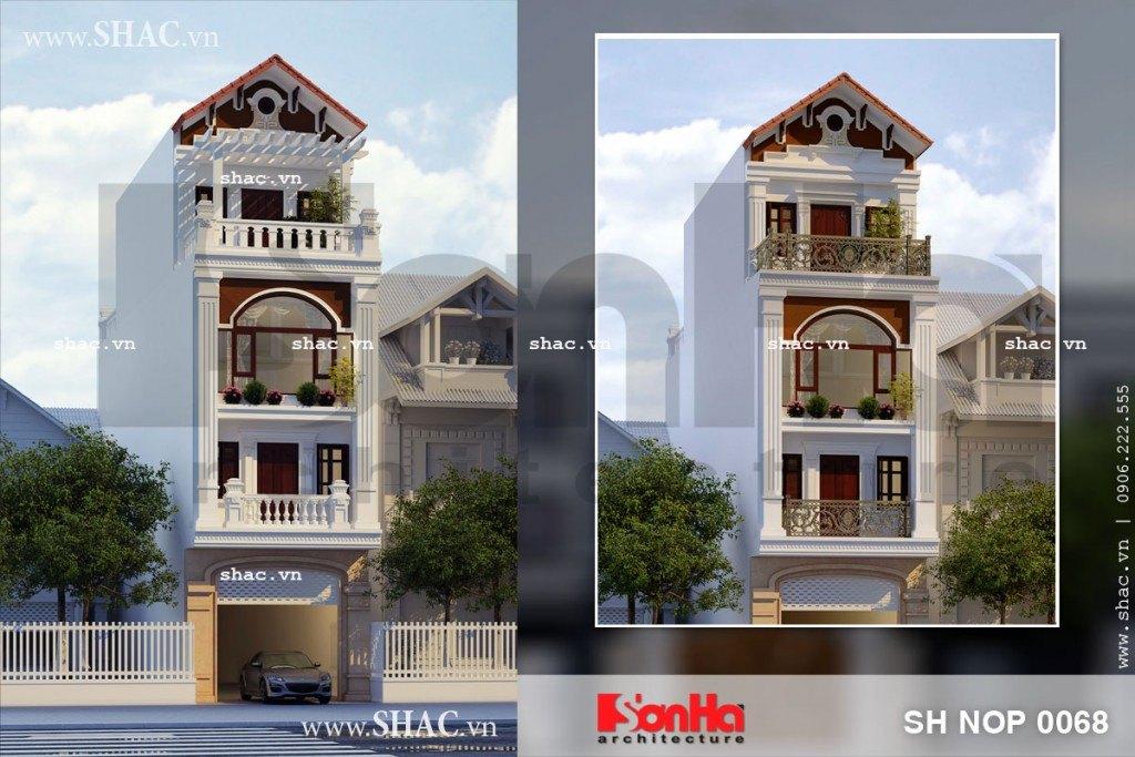Bản thiết kế nhà phố 4 tầng với 2 phương án kiến trúc