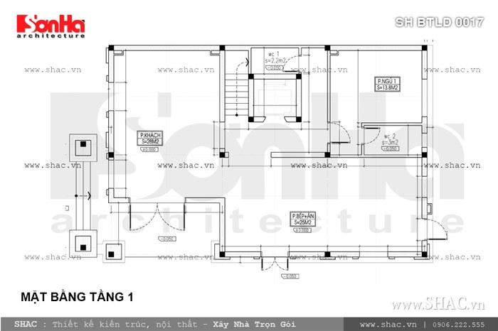 bản vẽ mặt bằng tầng 1 của biệt thự lâu đài mặt tiền 10; ban ve mat bang tang 1 biet thu lau dai mat tien 10m