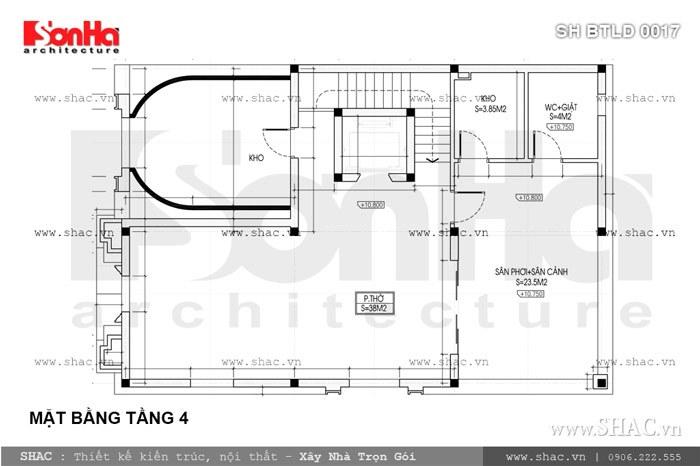 bản vẽ mặt bằng tầng 4 biệt thự lâu đài 150m2; ban ve mat bang tang 4 biet thu lau dai dien tich 10mx15m