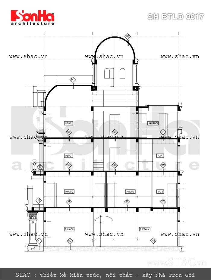 bản vẽ mặt cắt biệt thự lâu đài 4 tầng tại quảng ninh; ban ve mat cat quy hoach biet thu lau dai