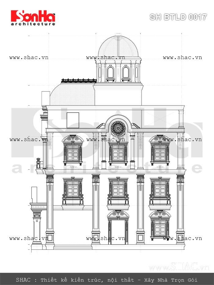 bản vẽ mặt đứng biệt thự lâu đài đẳng cấp; thiet ke ban ve mat dung biet thu lau dai 4 tang