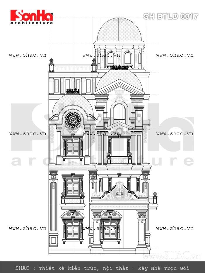bản vẽ mặt đứng trục c-a của biệt thự lâu đài; ban ve mat dung truc c-a biet thu lau dai 4 tang