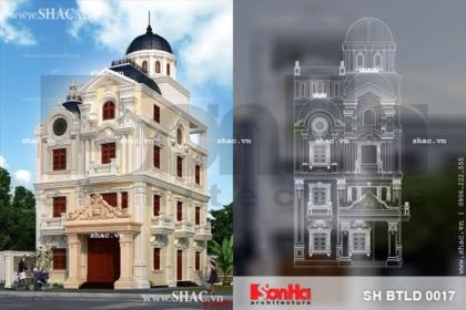 Bản vẽ thiết kế biệt thự lâu đài kiến trúc pháp 4 tầng