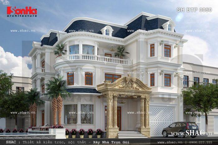 Mẫu biệt thự 3 tầng kiến trúc Pháp độc đáo mái đá xanh hoàn toàn chinh phục CĐT Ninh Thuận