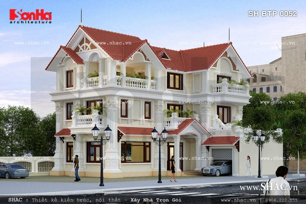 Biệt thự 3 tầng kiểu pháp kết hợp mái đỏ