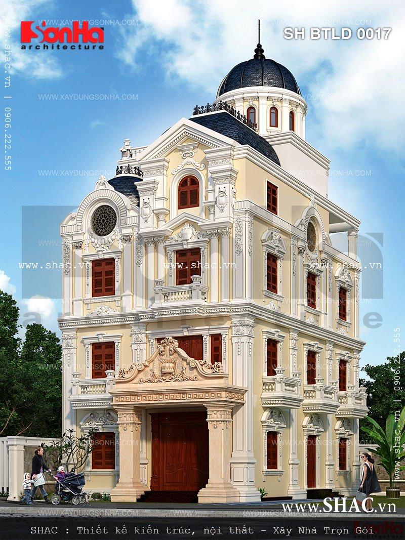 Biệt thự lâu đài 4 tầng kiến trúc pháp cổ điển Bản vẽ thiết kế biệt thự lâu đài kiến trúc pháp 4 tầng