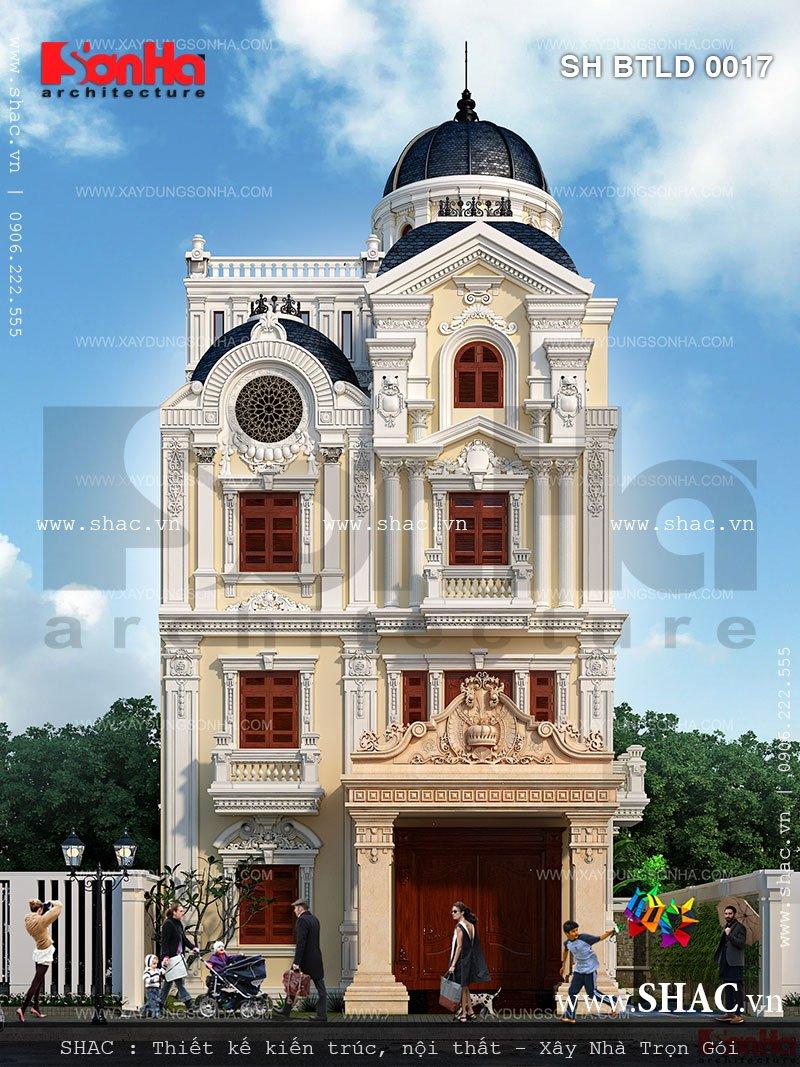 Bản vẽ biệt thự lâu đài kiến trúc Pháp 4 tầng này đã hoàn toàn thuyết phục CĐT trong và ngoài nước