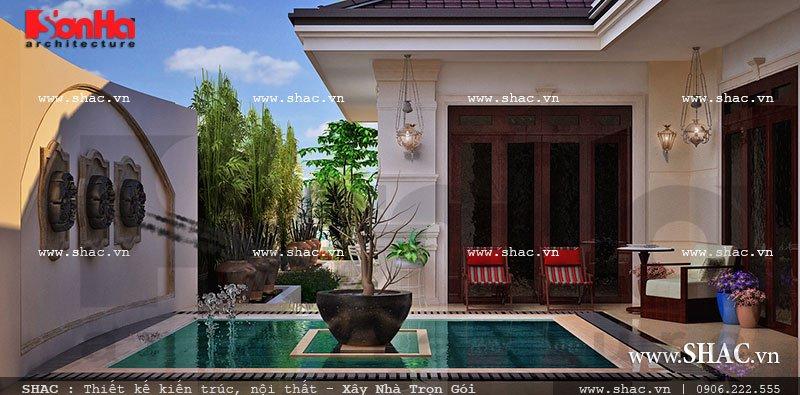 biệt thự mini 1 tầng có sân vườn, bể bơi