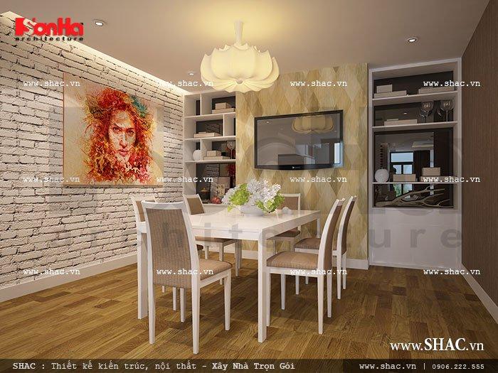 Bộ bàn ăn của nhà chung cư đẹp và đơn giản