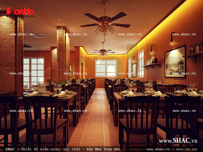 không gian phòng ăn yên tĩnh và ấm cúng