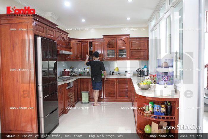 Không gian phòng bếp với nội thất gỗ đẹp