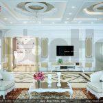 Không gian phòng khách biệt thự kiến trúc pháp đẹp