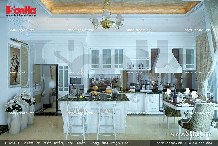 Sang trọng và tinh tế là những gì mà kiến trúc sư Sơn Hà mang đến cho không gian phòng bếp ăn biệt thự Pháp tại Hải Phòng