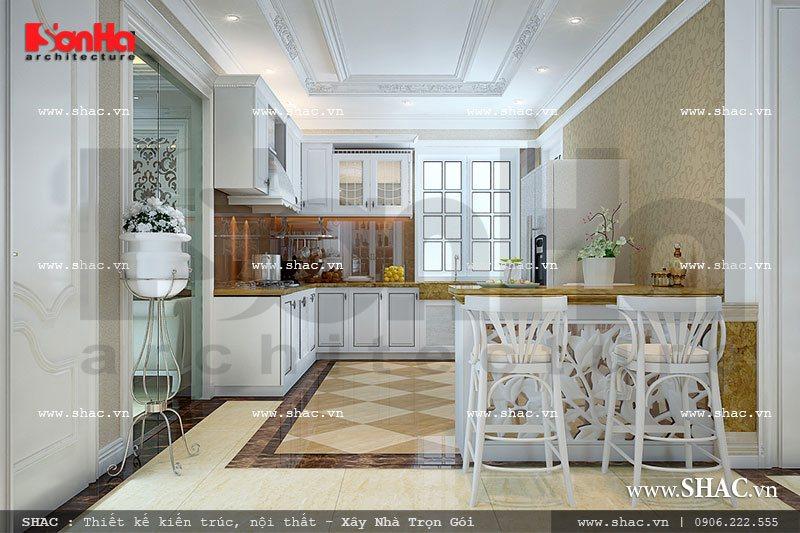 Kiểu tủ bếp hình chữ U nổi bật luôn nhận được sự yêu thích của nhiều chủ đầu tư khi chọn phương án thiết kế nội thất phòng bếp của gai đình mình