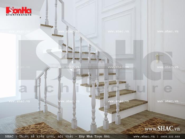 Đây cũng là mẫu cầu thang thanh nhã được yêu thích sử dụng trong thiết kế nhà phố đẹp