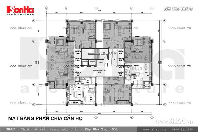 Mặt bằng phân chia căn hộ trung cư SH KS 0019