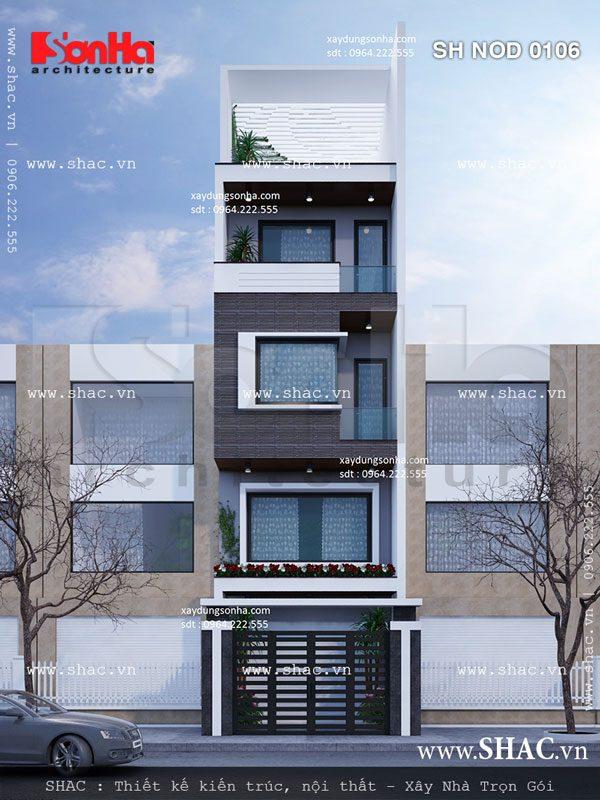 Bản thiết kế mặt tiền nhà phố 5m đẹp