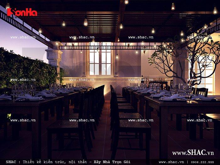 Mẫu thiết kế nhà hàng quán ngon lãng mạn