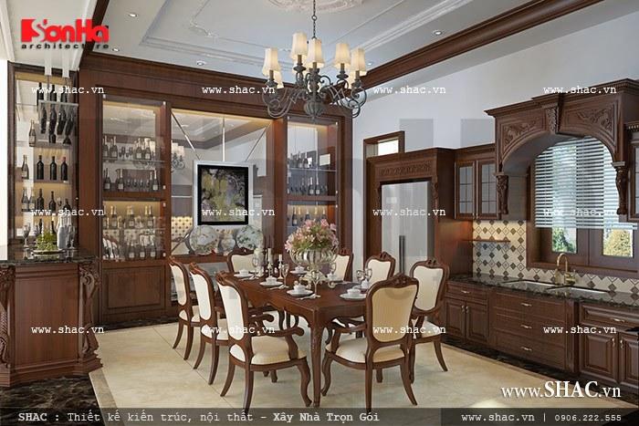 Thiết kế nội thất phòng bếp ăn mang phong cách vương giả được bày trí ngăn nắp, đầy đủ tiện nghi