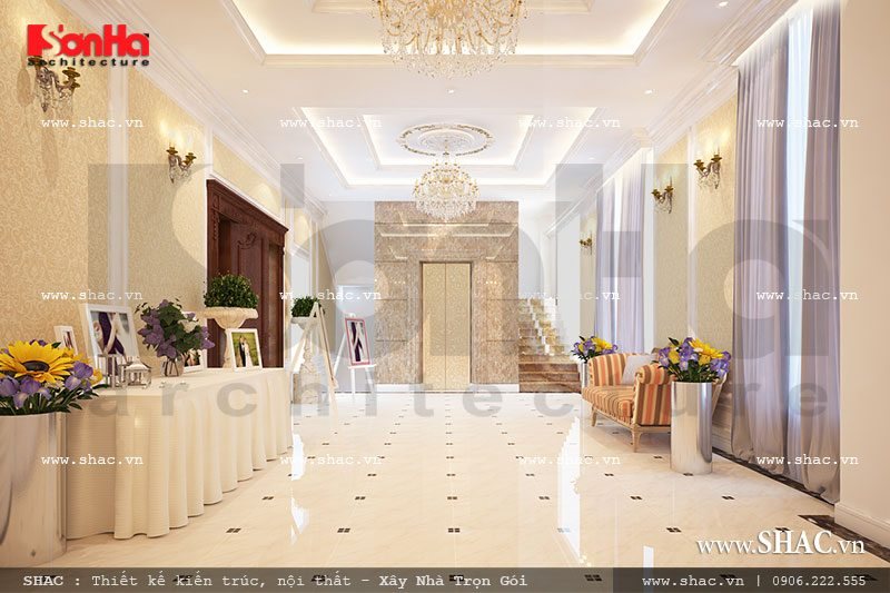 Nội thất sảnh trung tâm tiệc cưới