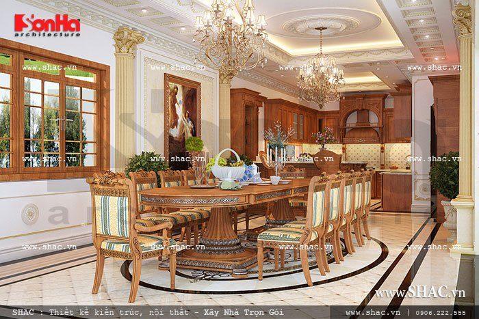 Mẫu phòng bếp ăn biệt thự nội thất cổ điển tiện nghi trong không gian rộng