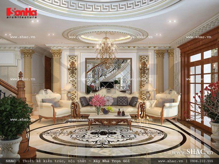 Phương án thiết kế phòng khách Pháp sang trọng với nội thất cổ điển đẹp mắt