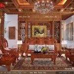 Phòng khách với nội thất gỗ đẳng cấp