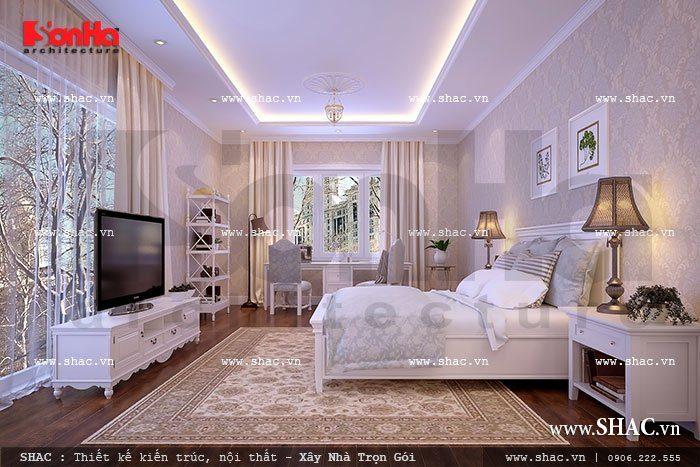 Thiết kế phòng ngủ nội thất phong cách Pháp sang trọng trong không gian thoáng rộng