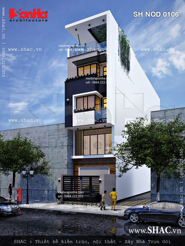 Thiết kế nhà phố 5m mặt tiền đẹp sh nod 0106