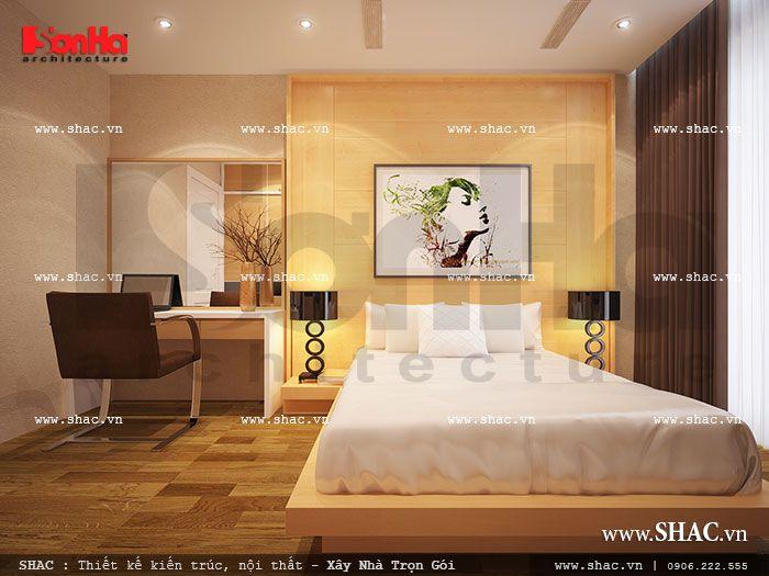 Thiết kế nội thất hiện đại cho phòng ngủ chung cư này khá tính dù tạo hình đơn giản