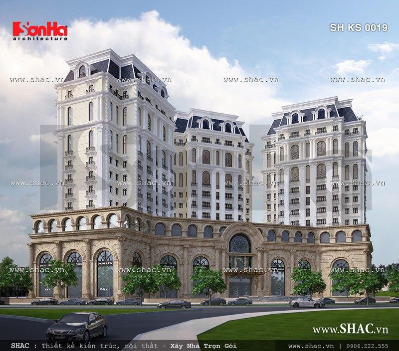 Tòa nhà 15 tầng được thiết kế theo kiến trúc pháp đẹp