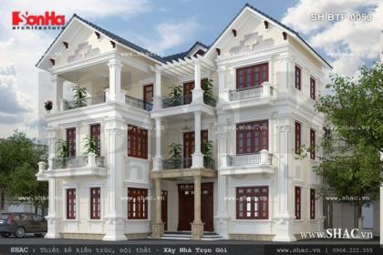 Biệt thự kiến trúc pháp 3 tầng mái ngói xanh đen