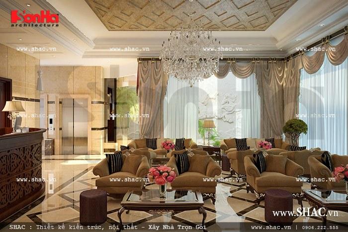 Tổng quan phương án bố trí nội thất sảnh khách sạn rất được yếu thích và đánh giá cao