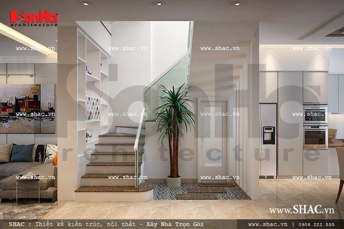 Thiết kế cầu thang gian dị nhưng đẹp mắt và thoáng đãng được chủ đầu tư yêu thích