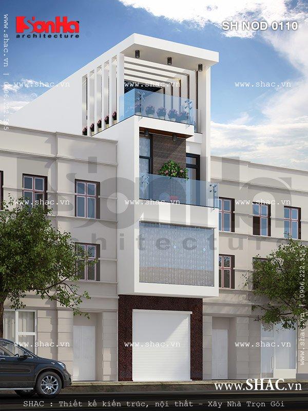 Nhà lô 4 tầng kiến trúc hiện đại nod 0110