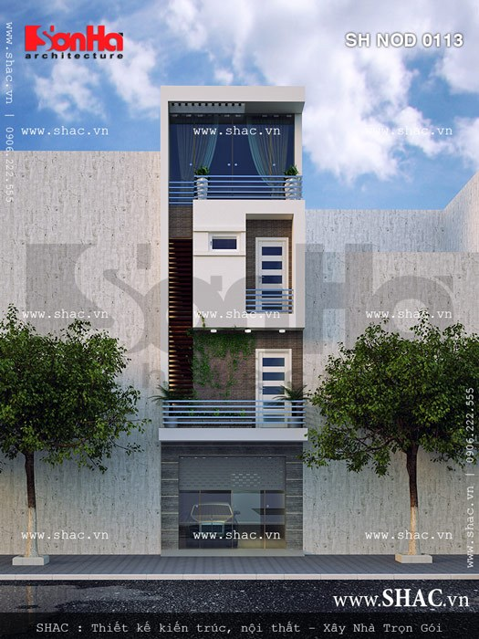 Phương án kiến trúc ngoại thất mãn nhãn của mẫu thiết kế nhà phố hiện đại 4 tầng đẹp