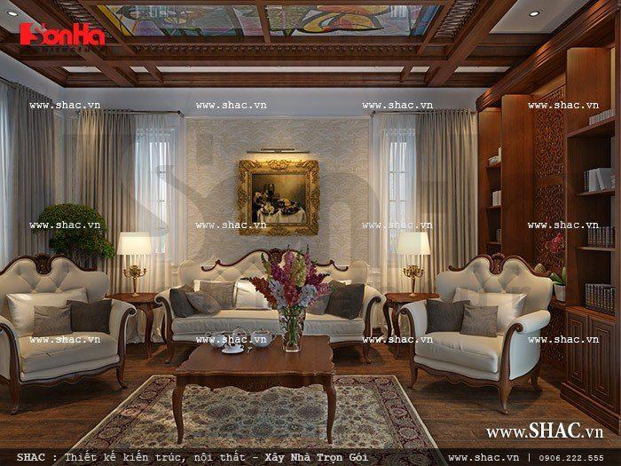 Nội thất phòng sinh hoạt chung được thiết kế theo phong cách Châu Âu, tiện nghi và lịch thiệp nhất.