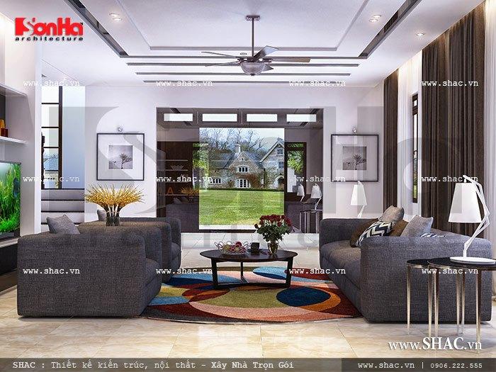 Sự tươi mới, trẻ trung, năng động là những lời nhận xét mà các vị khách đã dành để nói về không gian phòng khách của biệt thự hiện đại tại Hà Nội