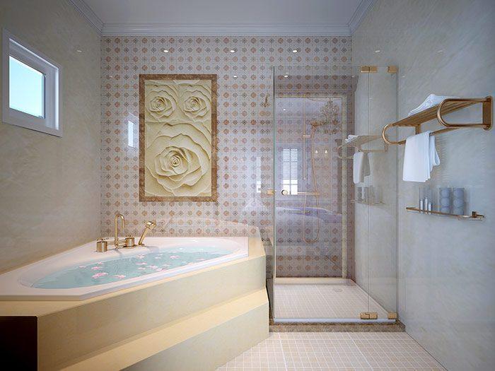 Thiết bị vệ sinh và bồn tắm cao cấp của mỗi phòng ngủ biệt thự kiểu Pháp 3 tầng diện tích 180m2 tại Quảng Ninh