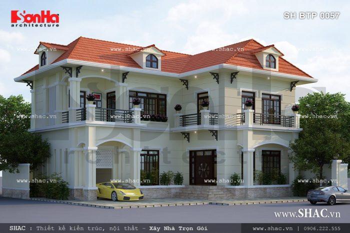 Thiết kế biệt thự 2 tầng nhỏ xinh sh btp 0057