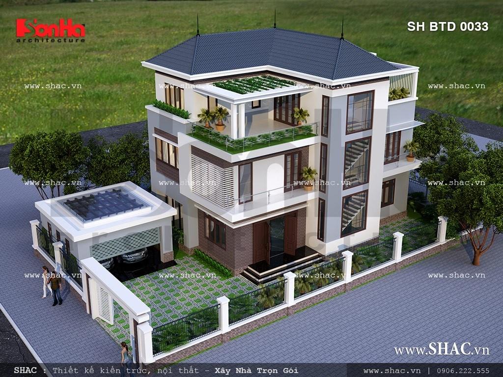 kiến trúc biệt thự mái thái 3 tầng đơn giản mà đẹp