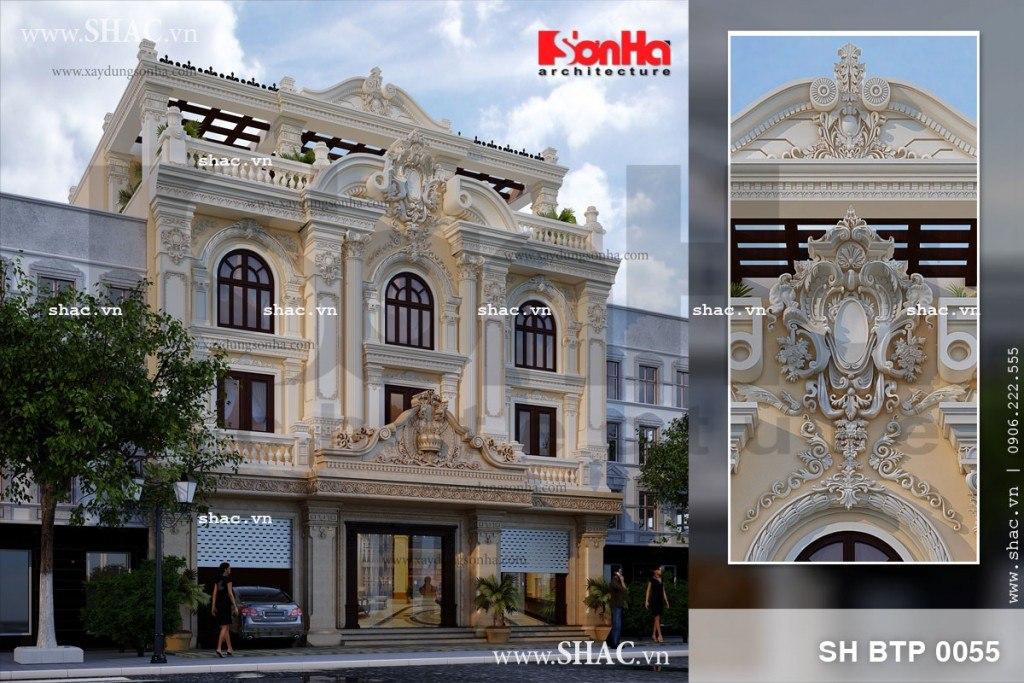 Mẫu biệt thự 4 tầng kết hợp showroom kinh doanh tại TP. Hồ Chí Minh có thiết kế kiến trúc cổ điển đẹp