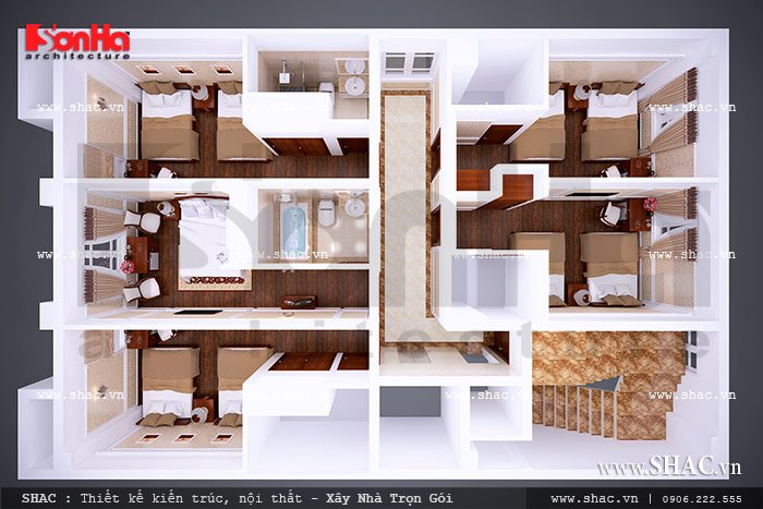 Thiết kế và bố trí phòng của khách sạn sh ks 0020