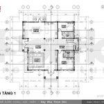 Bản vẽ mặt bằng tầng 1 của biệt thự sh btd 0021