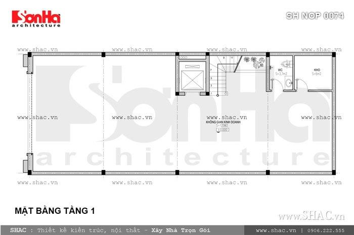 Bản vẽ mặt bằng tầng 1 của nhà phố sh nop 0074