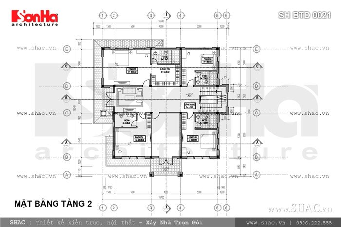 Bản vẽ mặt bằng tầng 2 của biệt thự sh btd 0021