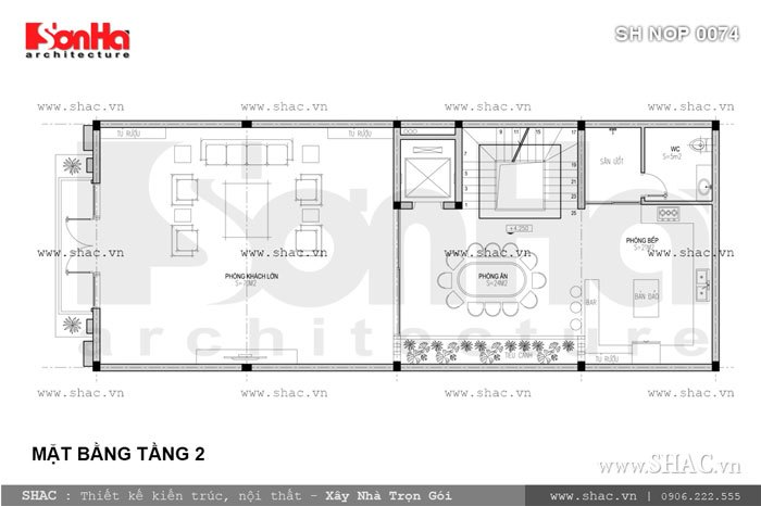 Bản vẽ mặt bằng tầng 2 của nhà phố sh nop 0074