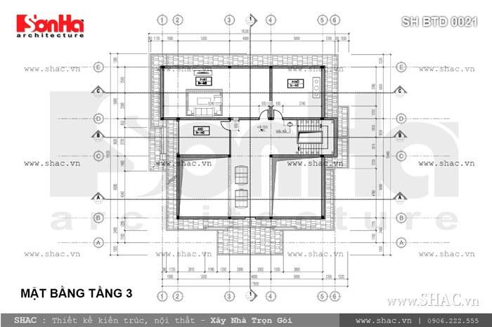 Bản vẽ mặt bằng tầng 3 của biệt thự sh btd 0021